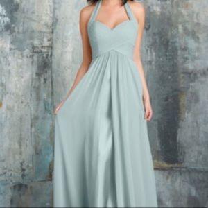 Bari Jay ~ Halter Bridesmaid Dress in Misty Blue